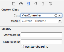 View controller class type